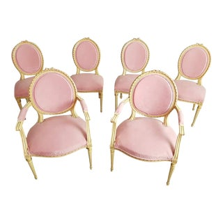 Set of 6 Antique French Louis XVI Restored in Pink Dining Chairs 2 Armchairs 4 Side Chairs For Sale