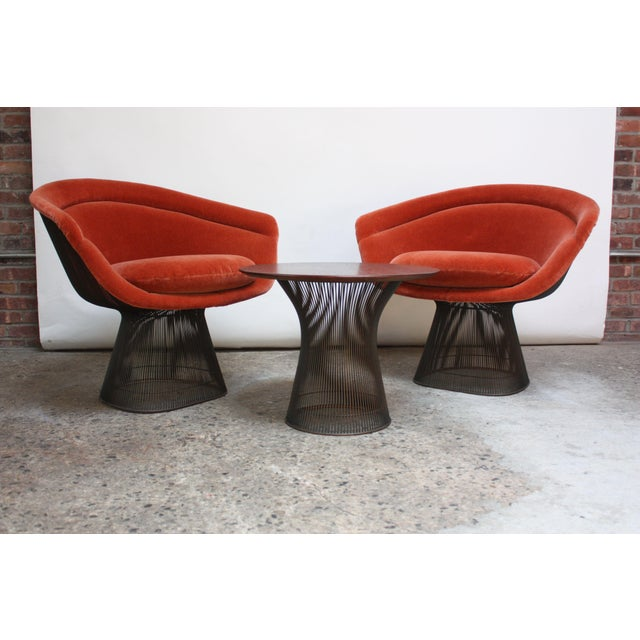 Suite of early (circa 1966) Warren Platner for Knoll Associates bronze-framed pieces: two wire lounge chairs redone in...