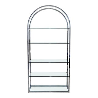 Mid-Century Modern Tall Curved Chrome and Glass Étagère Shelving Baughman, 1970s For Sale