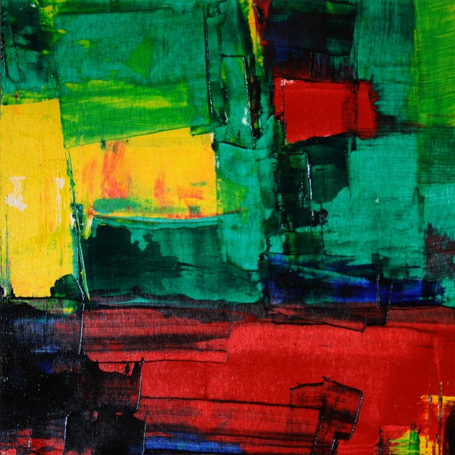 Red, Green & Yellow Abstract Modern Acrylic - Image 1 of 3