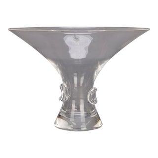 Mid-Century Modern Flared Steuben Glass Works Signed Crystal Flared Vase For Sale