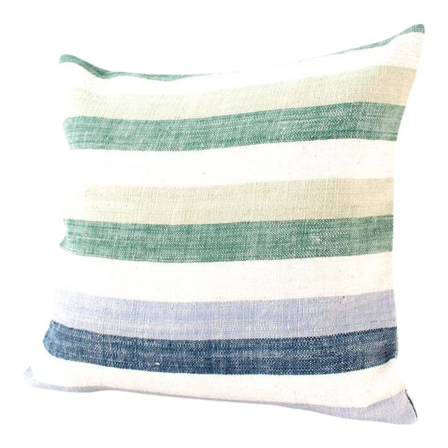 Contemporary Striped Cotton Pillow Cover For Sale