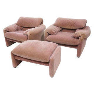 Vico Magistretti Lounge Chairs and Ottoman For Sale