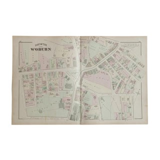 Antique Woburn Massachusetts Atlas Map Plate C