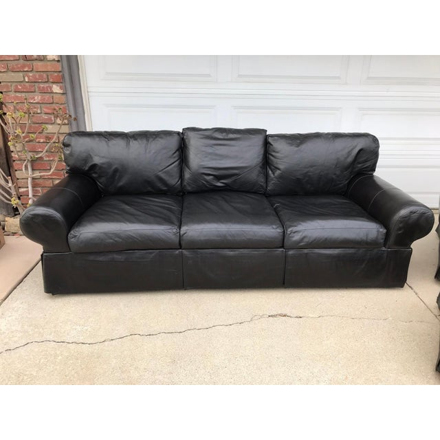 Custom Made Leather Sofa & Chair With Ottoman - Set of 3 - Image 2 of 11
