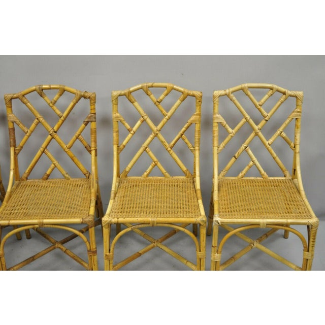 Chinese Chippendale Boho Chic Bamboo Rattan Faux Bamboo Dining Set - 5 Pieces For Sale In Philadelphia - Image 6 of 13