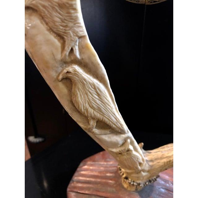 Hand Carved Antler on Wooden Base For Sale - Image 4 of 11