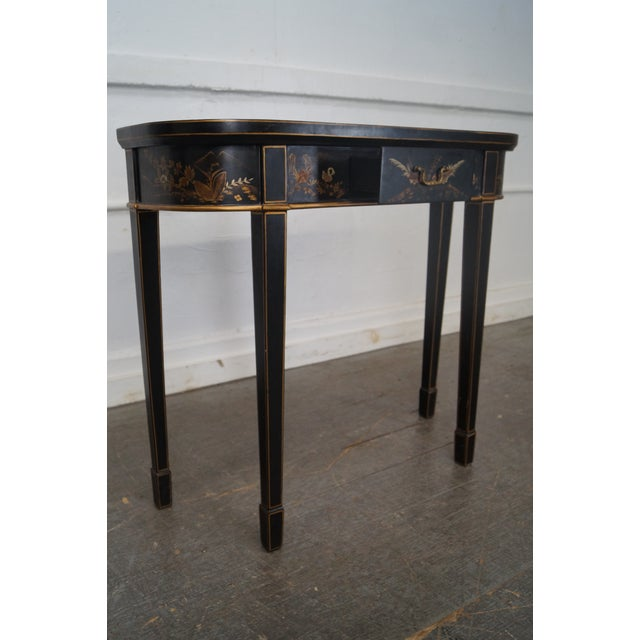 Hand Painted Chinoiserie Demilune Console Table For Sale - Image 9 of 10