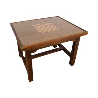 Arts & Crafts Vintage One Drawer Checkerboard Top Game Table For Sale