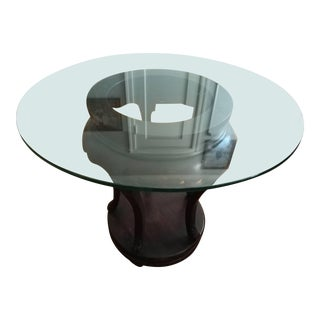 Glass Table With Chinese Wooden Base For Sale