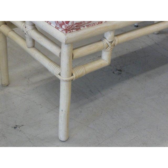 Vintage Ficks Reed Rattan Upholstered Bench - Image 2 of 5