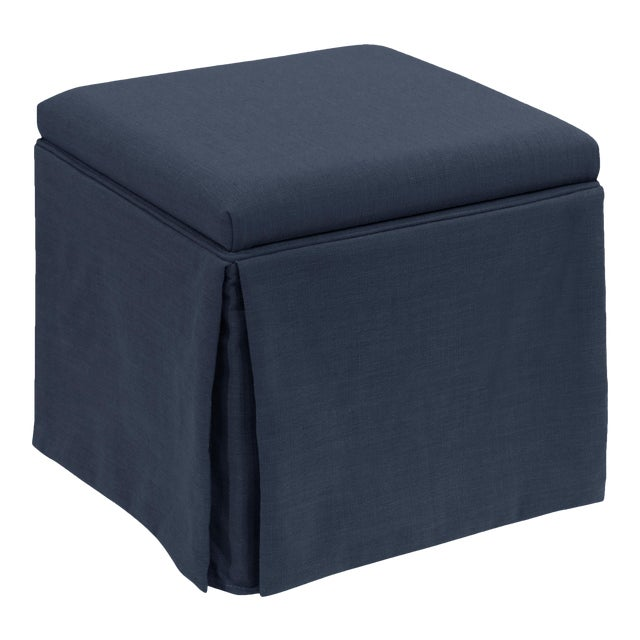 Textile Skirted Storage Ottoman in Linen Navy For Sale - Image 7 of 7