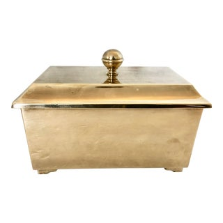 Brass Box With Lid & Handles For Sale