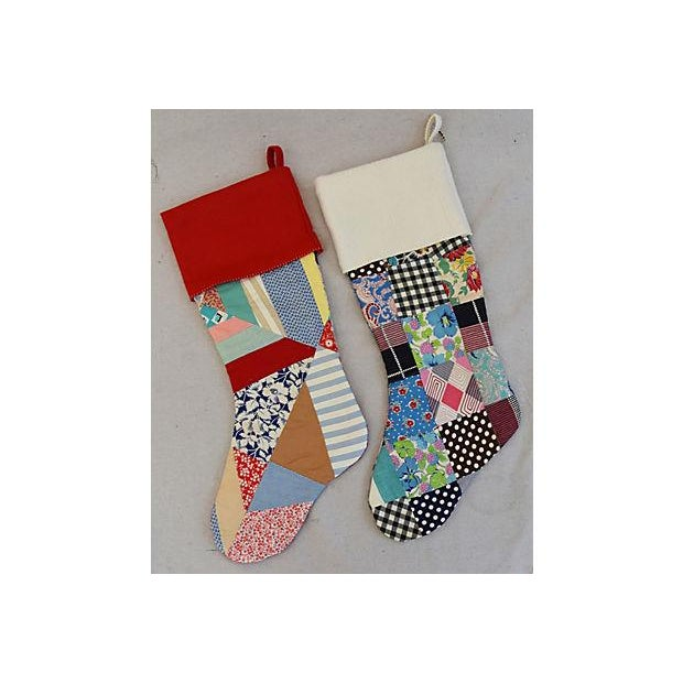 """Large 22"""" Custom Tailored Patchwork Quilt Christmas Stockings - Pair For Sale - Image 4 of 8"""