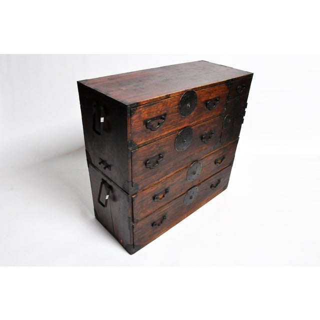 Japanese Tansu With Black Color Hardware For Sale - Image 4 of 13