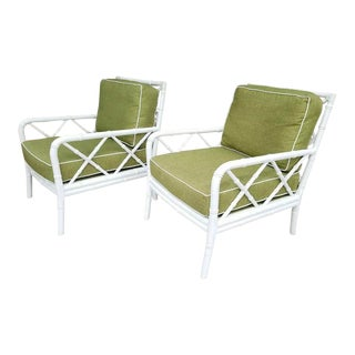 Faux Bamboo Solid Wood Club Chairs- A Pair For Sale