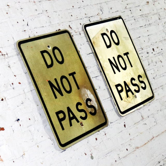 Late 20th Century Vintage Do Not Pass Metal Traffic Signs For Sale - Image 5 of 13