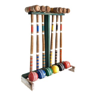 Vintage Wooden Croquet Set For Sale