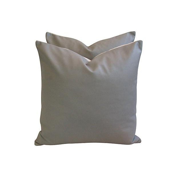 Custom Tailored Italian Gray Leather Feather/Down Pillows - Pair - Image 6 of 7