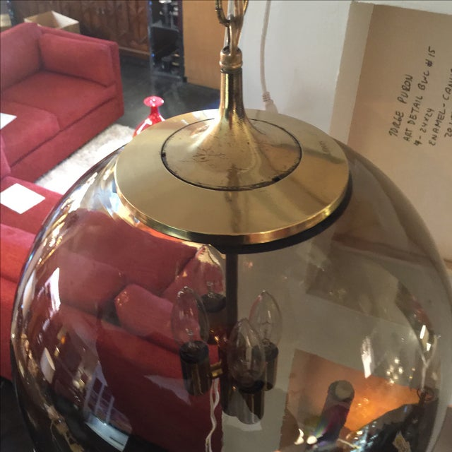 Limburg Circular Smoke Glass and Brass Chandelier - Image 6 of 7