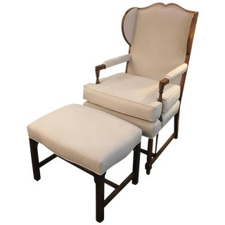 Traditional White Upholstered Wingback Chair and Ottoman
