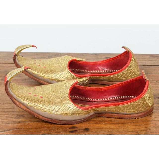 Amazing vintage Middle Eastern gold and red leather embroidered shoes. Ceremonial leather wedding slippers, embroidered...