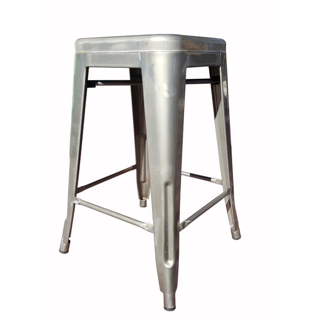 """Industrial Tolix """"Marais"""" Style Counter Bar Stools - A Pair - Image 2 of 6"""