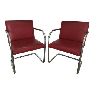 Knoll Brno Red Spinneybeck Leather Mid-Century Modern Chairs - a Pair For Sale
