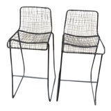 Image of CB2 Reed Bar Stools - A Pair For Sale