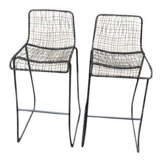 CB2 Reed Bar Stools - A Pair For Sale