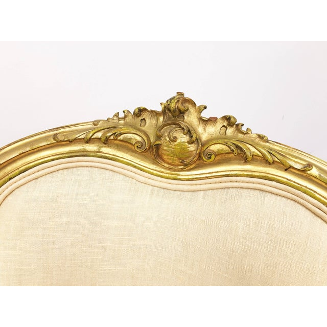 Louis XV Pair of 19th Century Louis XV Giltwood Bergères For Sale - Image 3 of 8