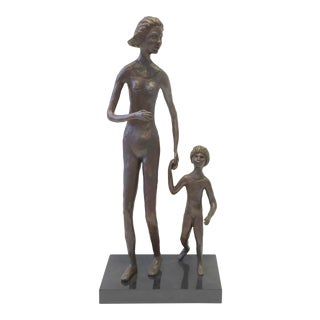 Ted Haber Bronze Sculpture of Mother and Child 26 In. For Sale