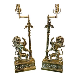 French Bronze Standing Lion Chenets Raised on Lucite Base Lamps - A Pair