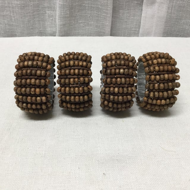 Mid-Century Wood Beads With Silver Lining Napkin Rings - 4 Pc Set For Sale - Image 4 of 6