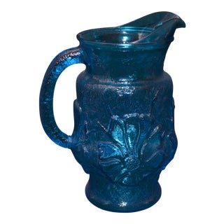 Anchor Hocking Blue Rainflower Pitcher