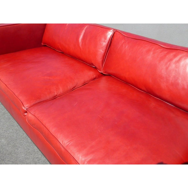 Designer Contemporary Red Leather Sofa - Image 8 of 11