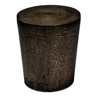 Ore Round Outdoor Accent Table / Stool, Bronze For Sale