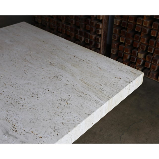 White Travertine Coffee Table, Circa 1980 For Sale - Image 8 of 13