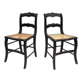 Pair Rustic Farmhouse Dining Chairs With Cane Seats For Sale