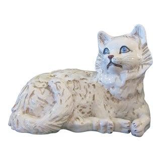 1970s Italian Ceramic Hand Painted Cat Sculpture