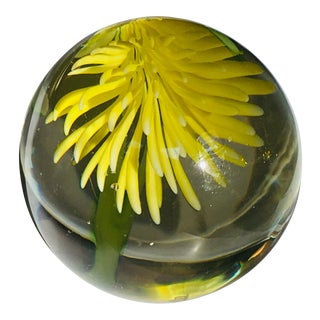 1960s Murano Italian Art Glass Paperweight Flower Mid Century Modern For Sale