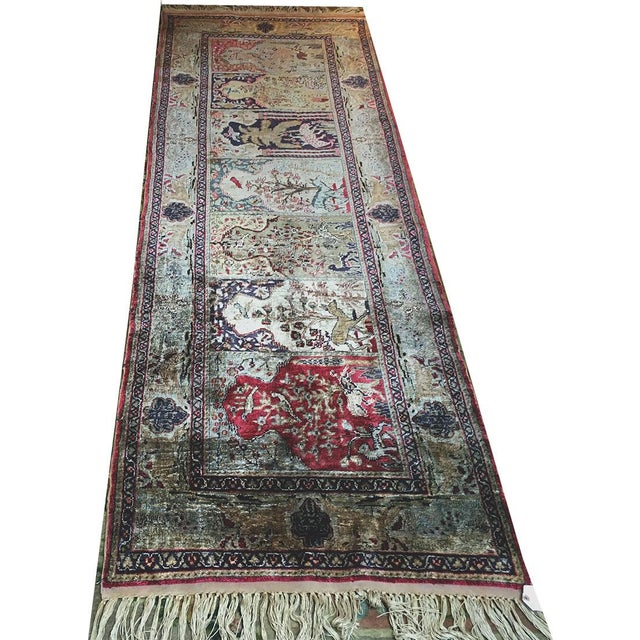 1900 - 1909 Early 20th Century Antique Silk Turkish Saph Runner Rug - 2′7″ × 8′ For Sale - Image 5 of 9