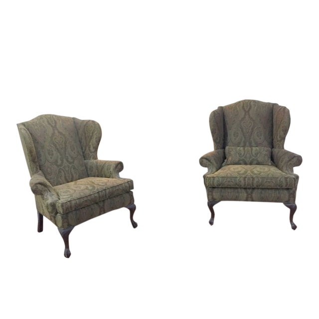 Ethan Allen Green Paisely Wingback Chairs - a Pair For Sale
