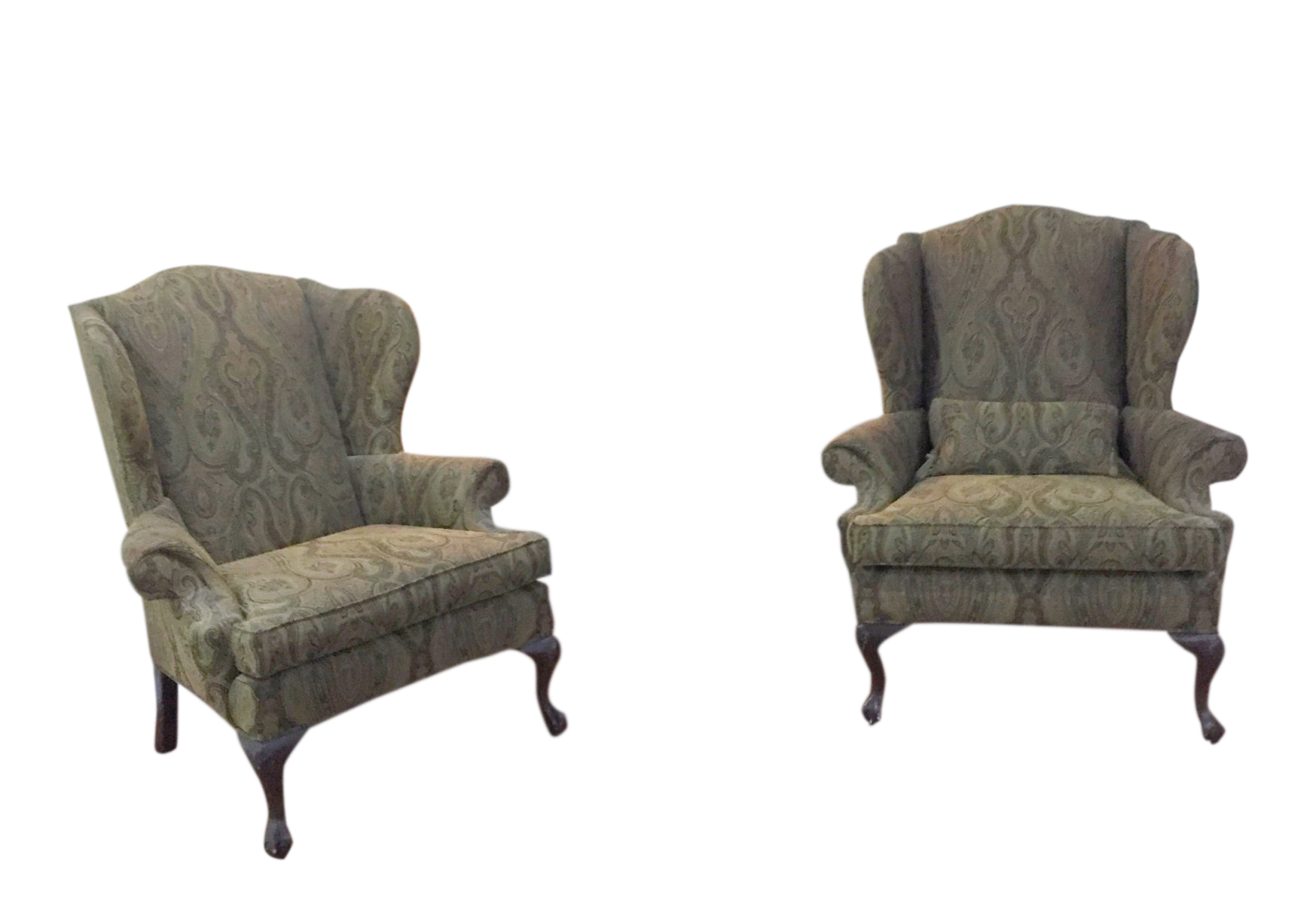 Ethan Allen Green Paisely Wingback Chairs   A Pair