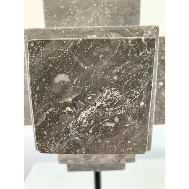 Gray Modern Sculpture Gray Marble Cube on Stand For Sale - Image 8 of 10