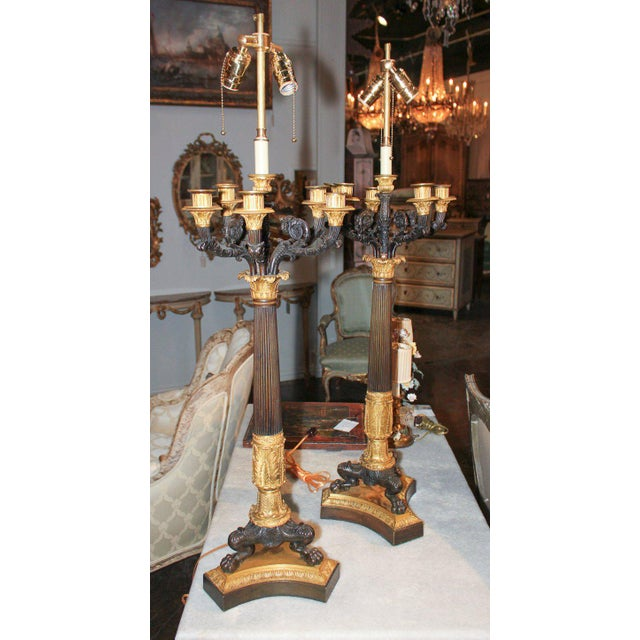Mid 19th Century Large Pair of 19th C. French Empire Candelabra For Sale - Image 5 of 7