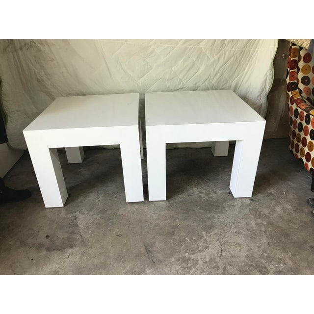 Vintage Mod White Laminate Parsons Tables - a Pair - Image 2 of 5
