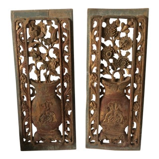 Carved Wood Chinese Panels - A Pair