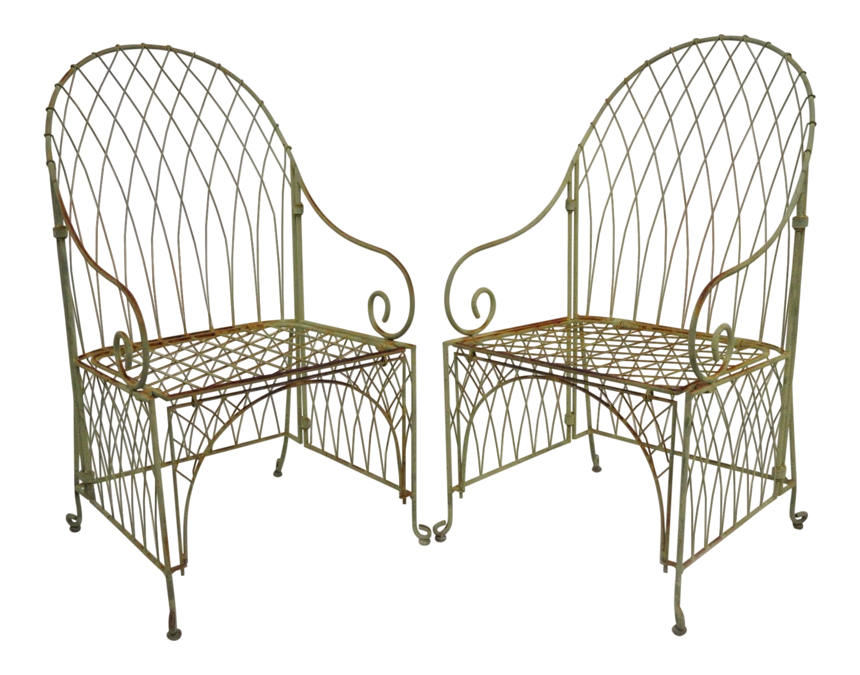 Victorian Style Wrought Iron Green Folding Garden Patio Chairs A