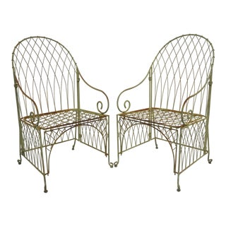 Victorian Style Wrought Iron Green Folding Garden Patio Chairs - a Pair For Sale